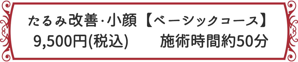 たるみ改善・小顔【ベーシックコース】 9,500円(税込) 施術時間約50分